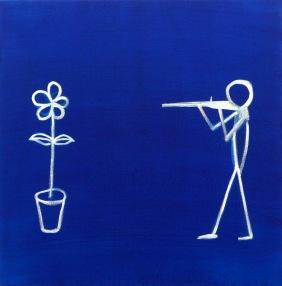 איש יורה בפרח